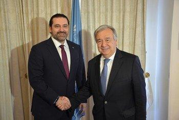 الأمين العام للأمم المتحدة أنطونيو غوتيريش يلتقي رئيس الوزراء اللبناني سعد الحريري في بروكسل. 4 أبريل/نيسان 2017