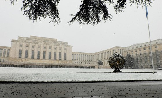 A view of the Palais des Nations, seat of the United Nations Office at Geneva (UNOG), ahead of snowstorm. 01 February 2019.