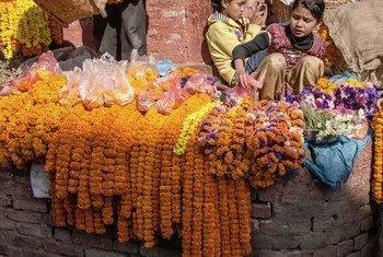 Watoto wakiwa Nepal wanauza maua Durbar Square, Kathmandu