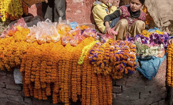 Children in Nepal sell flowers in a Durbar Square, Kathmandu.