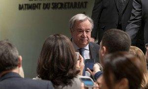 El Secretario General António Guterres se dirige a la prensa en la sede de las Naciones Unidas en Nueva York.