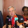 在亚的斯亚贝巴与非盟委员会主席会晤后,联合国秘书长古特雷斯向媒体发表了讲话。