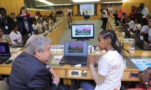 Secretary-General António Guterres attends a Science, Technology, Engineering and Mathematics (STEM) Event on Digital Coding at the 32nd Assembly of the African Union in Addis Ababa, Ethiopia.