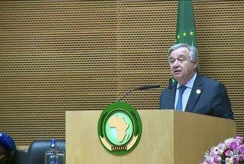 الأمين العام أنطونيو غوتيريش يتحدث أمام القمة الثانية والثلاثين للاتحاد الأفريقي، أديس أبابا، إثيوبيا. 10 فبراير 2019.