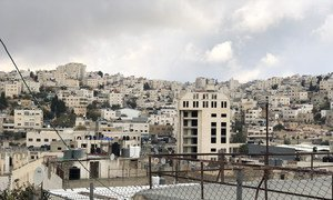 Palestinian houses and Israeli settlements in H2 area in Hebron, West Bank.
