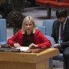 Jeanine Hennis-Plasschaert, Représentante spéciale du Secrétaire général de l'ONU pour l'Iraq, devant le Conseil de sécurité.