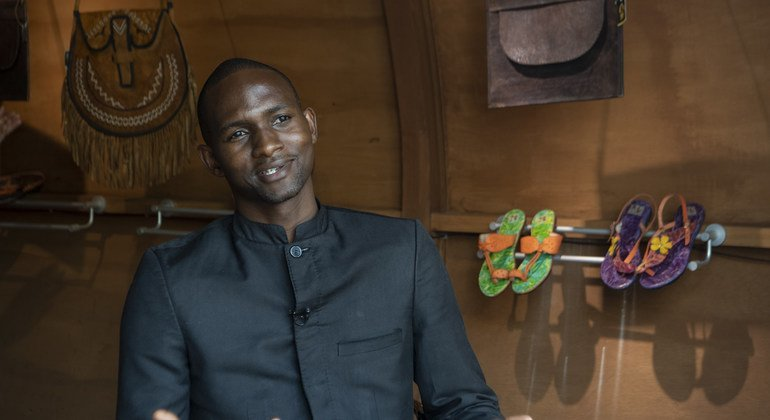 Charlie Wandji set up the NGO, IDP Goods, in Cameroon in 2016 to provide jobs to people who had been displaced by Boko Haram. (January 2019)
