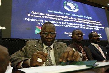 Cérémonie de paraphe de l'accord de paix et de réconciliation entre le Gouvernement centrafricain et les groupes armés, à Khartoum, au Soudan.