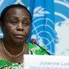Julienne Lusenge, militante congolaise des droits de l'homme, présidente du groupe Sofepadi et directrice du Fonds des femmes congolaises lors d'une conférence de presse à Genève.