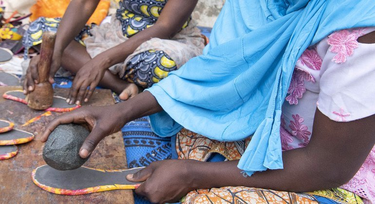 Cameroonians affected by Boko Haram attacks have been trained to make sandals and other leather goods to provide extra income. (January 2019)