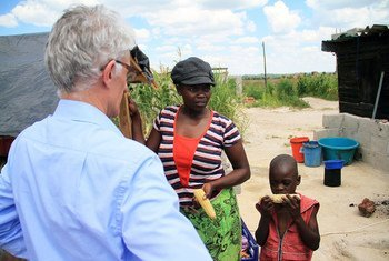 Mark Lowcock, Under Secretary-General for Humanitarian Affairs and Emergency Relief, visiting the densely populated Harare suburb Epworth, in Zimbabwe, where he met with families in need.