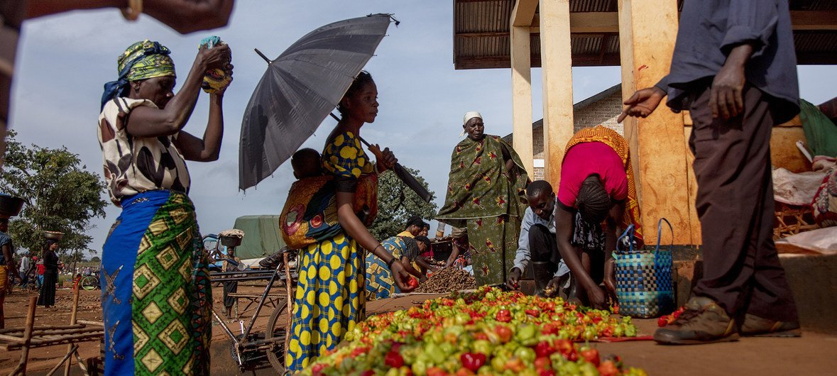 The common market where Burundi and DRC refugees can interact with Tanzanian host community at Nyarugusu Refugee Camp in Kasulu District, western Tanzania, February 7, 2019.