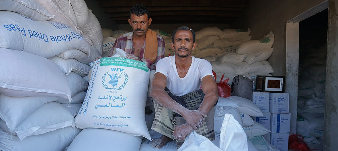 Cereal stored in Dhubab, Taiz Governorate, in Yemen. The World Food Programme (WFP) grain stored in Hudaydah's Red Sea Mills has been inaccessible for over five months and is at risk of rotting.