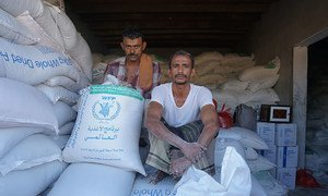 Cereal stored in Dhubab, Taiz Gobernorate, in Yemen. The World Food Programme (WFP) grain stored in Hudaydah's Red Sea Mills has been inaccessible for over five months and is at risk of rotting.