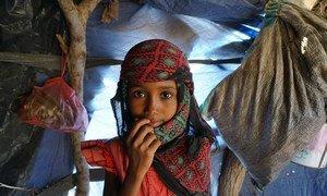 Child at Al Rebat camp where around 60 displaced families live having fled conflict zones in Taiz and Al Hudaydah, Yemen (November 2018).