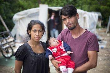 Una familia apátrida en Skopje, Macedonia.