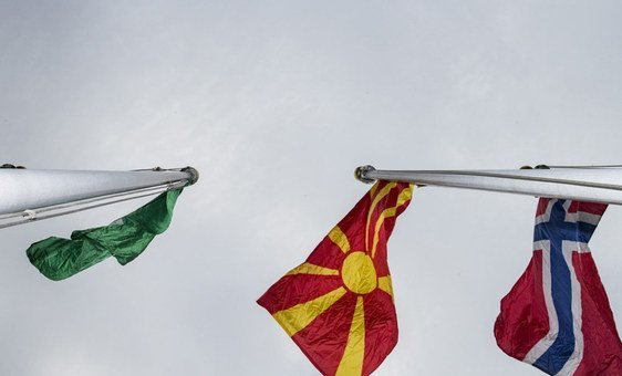 North Macedonia flag raising for the first time at UN Headquarters in New York. The flag is alphabetically located between the flags of Nigeria (left) and Norway (right).