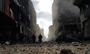 加沙地带一栋遭到摧毁的居民楼。