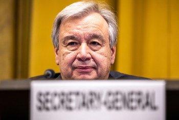 联合国秘书长古特雷斯25日在日内瓦举行的裁军谈判会议上致辞。