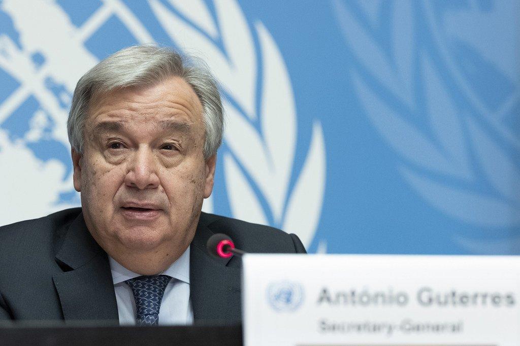 Le Secrétaire général de l'ONU, António Guterres, lors d'une conférence de presse à Genève (archive)