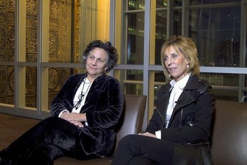 """Roberta Grossman (left) and Nancy Spielberg (right) at UN Headquarters in New York, where their new film """"Who Will Write Our History"""" was screened during the 2019 Holocaust Remembrance Week."""