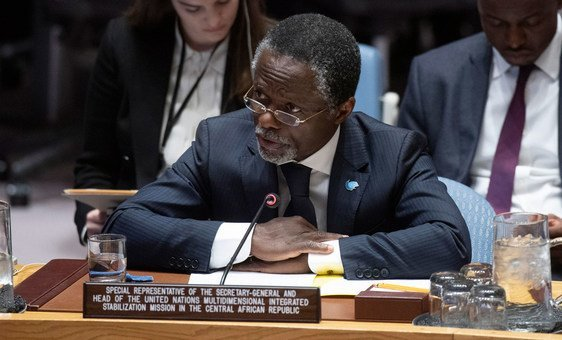 Chefe da Minusca, Parfait Onanga-Anyanga, fala ao Conselho de Segurança