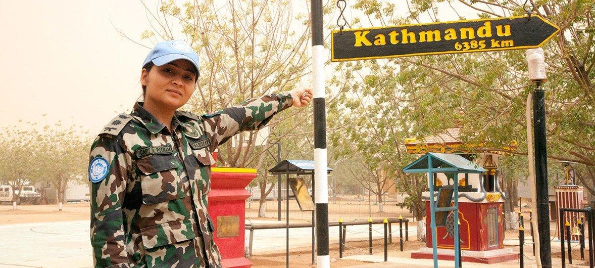 Captain Poonam Khadka while on mission in Sudan's Darfur region.
