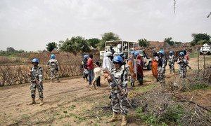 UNAMID peacekeepers from the Nepalese police contingent during a June 2018 patrol in Masteri, West Darfur