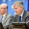 Conférence de presse sur la RCA de Jean-Pierre Lacroix (à droite), Secrétaire général adjoint aux opérations de paix, et Smaïl Chergui, Commissaire à la paix et à la sécurité de l'Union africaine