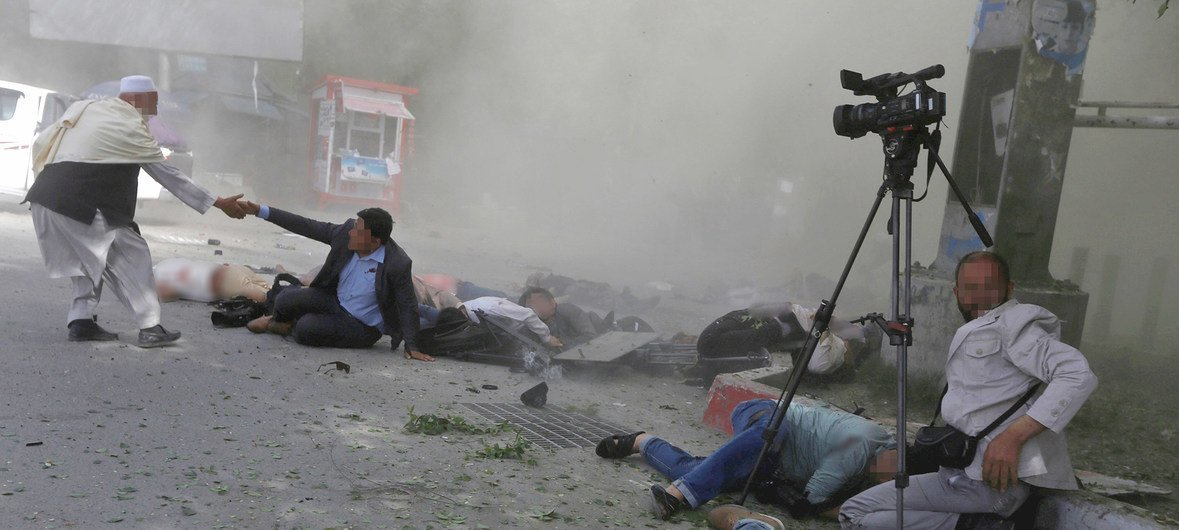 Journalists and first responders caught in a downtown Kabul suicide attack. (file)
