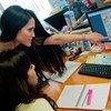 राबात में एक कंपनी के मार्केटिंग विभाग में काम करने वालीं दो महिलाएं.