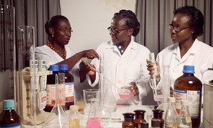 Professor Amivi Kafui Tete-Benissan (left) teaches cell biology and biochemistry at the University of Lomé, Togo. She's also a vocal activist who encourages girls to pursue science as a career path.