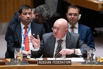 Постоянный представитель России при ООН Василий Небензя на заседании Совбеза ООН