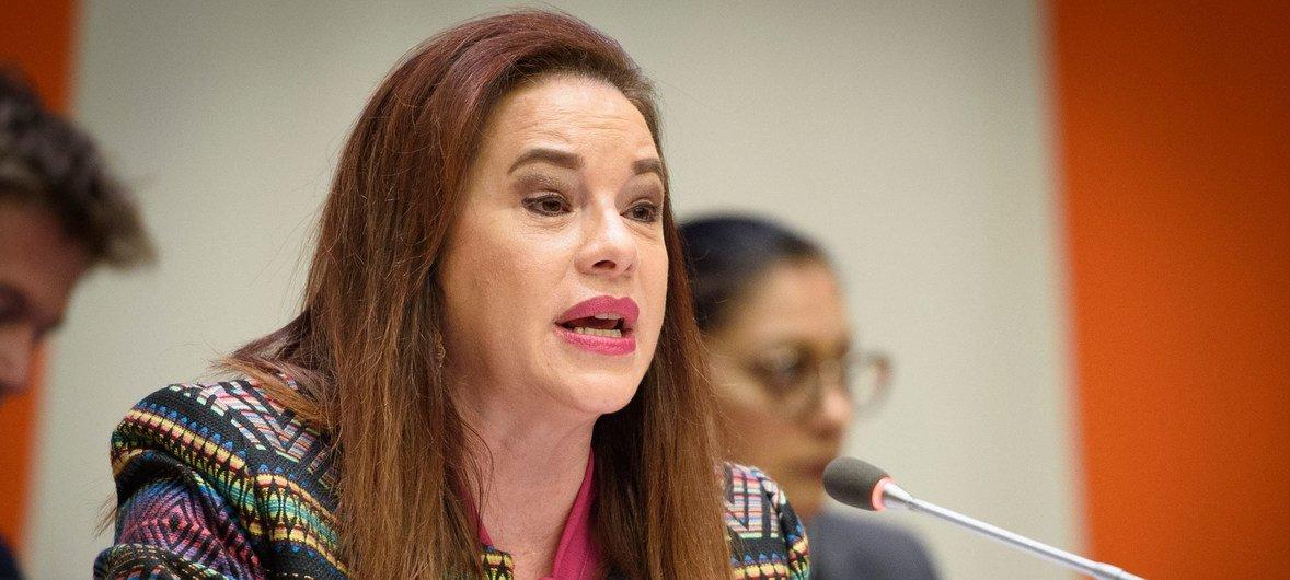 General Assembly President María Fernanda Espinosa Garcés addresses the high-level debate on international migration and development.