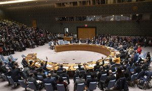 A wide view of the Security Council as members vote on a draft resolution related to the situation in the Bolivarian Republic of Venezuela.