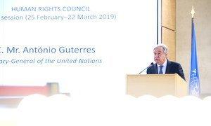 Le Secrétaire général de l'ONU, António Guterres, lors de l'ouverture de la 40e session du Conseil des droits de l'homme, Palais des Nations. 25 février 2019