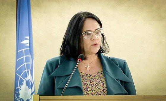 Ministra da Mulher, da Família e dos Direitos Humanos, Damares Alves, discursa no Conselho de Direitos Humanos da ONU.