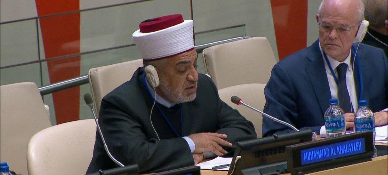الشيخ الدكتور محمد الخلايلة، المفتي العام للمملكة الأردنية الهاشمية خلال حديثه في فعالية في مقر الأمم المتحدة في نيويورك بمناسبة أسبوع الوئام بين الأديان.