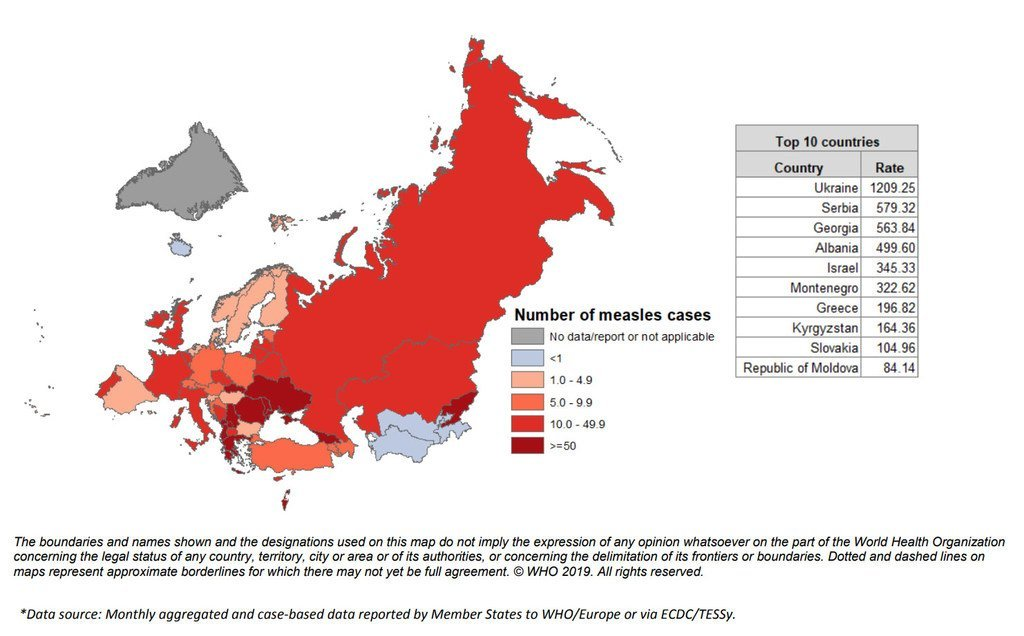 Map of measles incidence rate per million in the WHO European Region, January—December 2018 (data as of 01 February 2019)
