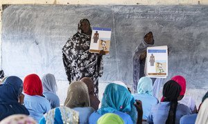 Women preachers teach young women about menstruation at a UNFPA-supported class in the town of Bol in Chad. (February 2019)