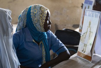 Young women learn about puberty and menstruation at a girls-only class supported by the UN in Bol town in Chad. (February 2019)