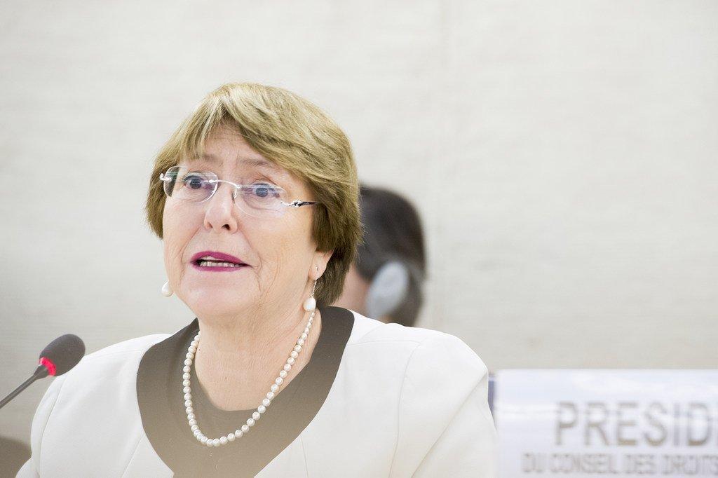 La Haut-Commissaire des Nations Unies aux droits de l'homme, Michelle Bachelet, au Conseil des droits de l'homme