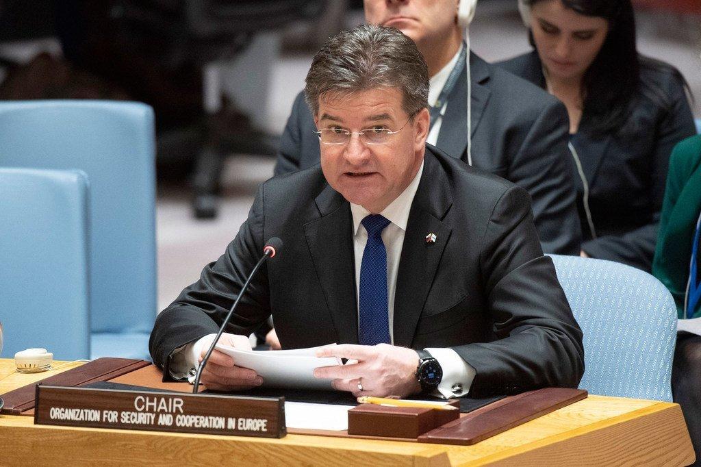 Miroslav Lajčák, Ministre des afffaires étrangères de la République slovaque, Président en exercice de l'OSCE et ancien Président de l'Assemblée générale, briefe le Conseil de sécurité.