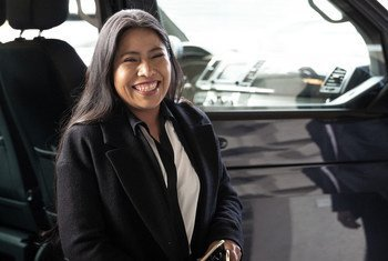 La actriz nominada al Oscar, Yalitza Aparicio, llega a la sede  de la ONU en Ginebra.