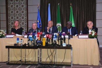 """Guterres esteve reunido este sábado com o grupo conhecido como o """"quarteto árabe"""", composto por representantes da Liga Árabe, União Europeia, UE, União Africana, UA, e Nações Unidas."""