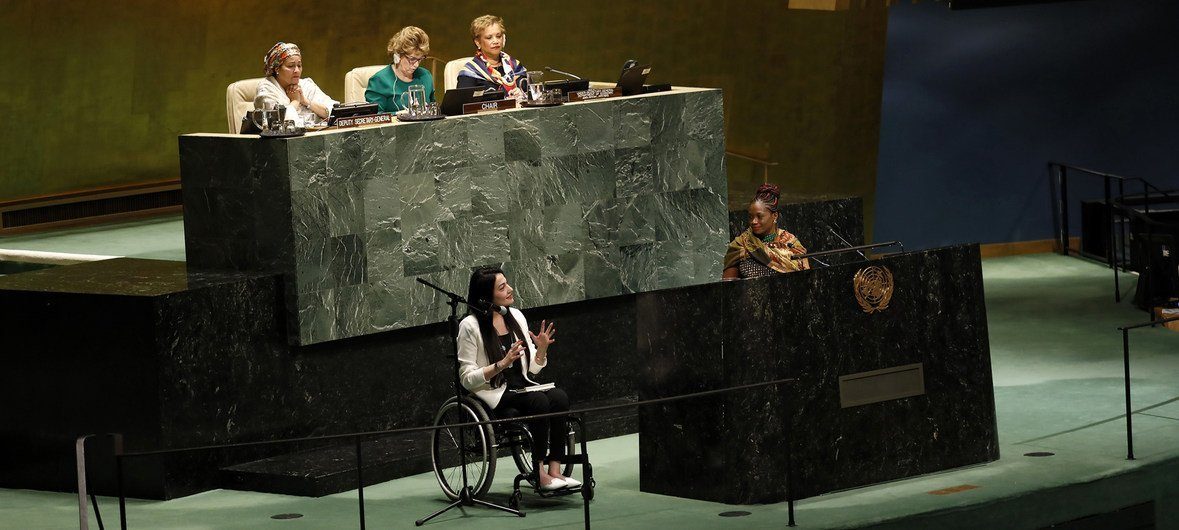 Civil Society Representatives Mary Fatiya (South Sudan) and Muniba Mazari (Pakistan) address the Commission on the Status of Women held in the General Assembly Hall at United Nations Headquarters.