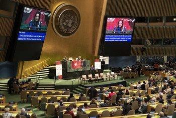 """La Présidente de l'Assemblée générale, María Fernanda Espinosa Garcés, lance les travaux de la réunion de haut niveau """"Les femmes au pouvoir"""", le 12 mars 2019."""