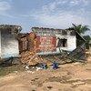 Edificio de la Comisión Electoral en el territorio de Yumbi, parcialmente destruido durante la violencia intercomunal en diciembre de 2018.