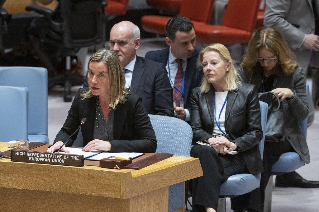 Federica Mogherini, haute représentante de l'Union européenne pour les affaires étrangères et la politique de sécurité, parlant au Conseil de sécurité.