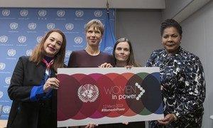 María Fernanda Espinosa e Kersti Kaljulaid, presidente da Estónia, Katrín Jakobsdóttir, primeira-ministra da Islândia e Paula-Mae Weekes, presidente de Trinidad e Tobago.